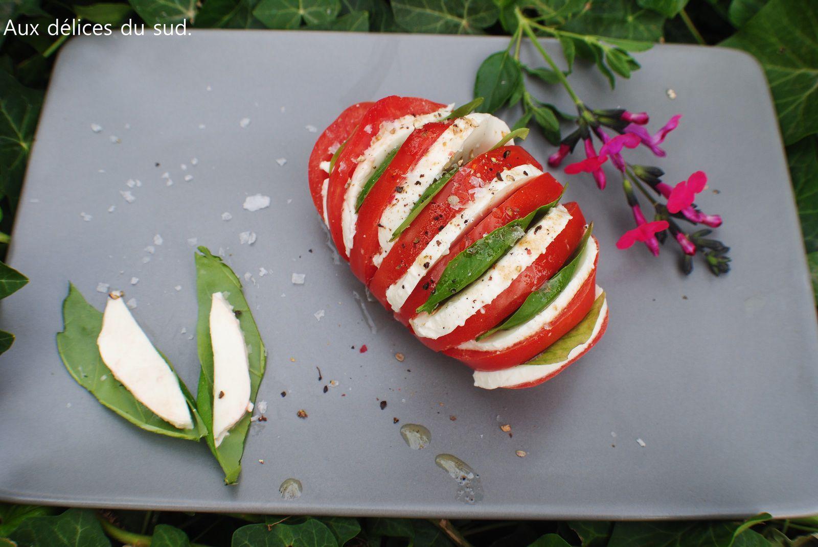 Tomates hasselback , mozzarella,  basilic .