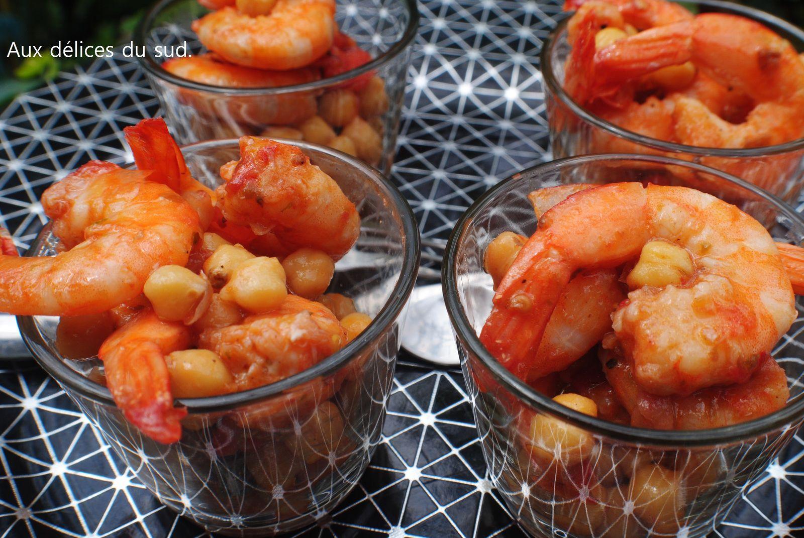 Crevettes à l'aigre-douce aux pois chiches , pour apéro dinatoire .