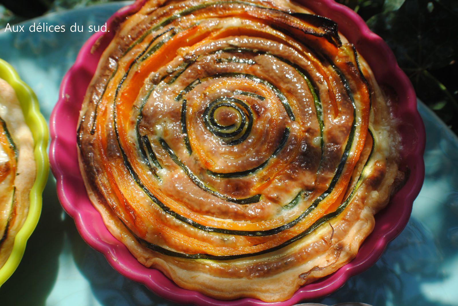 Tartelettes aux carottes et courgettes .