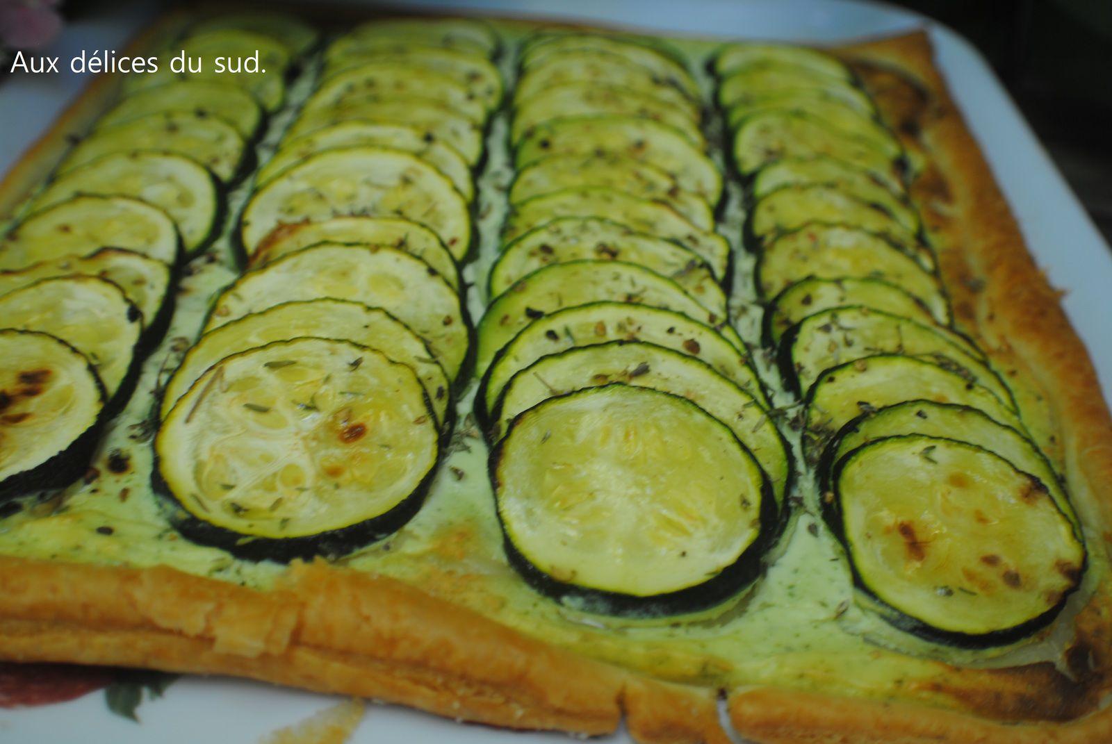 Tarte aux courgettes ,ricotta ,ail et basilic .