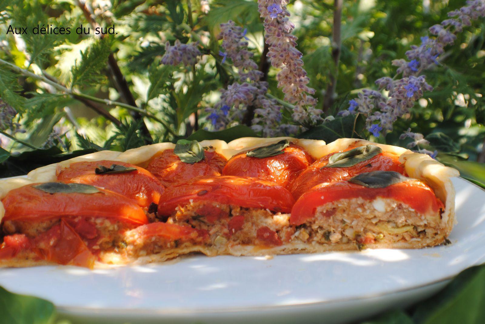 Tatin de tomates roma farcies .