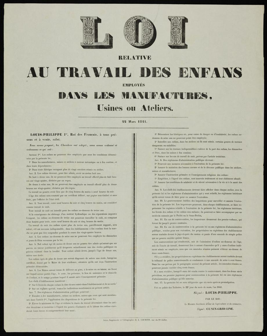 LOI du 22 mars 1841, relative au travail des enfants employés dans les manufactures, usines ou ateliers