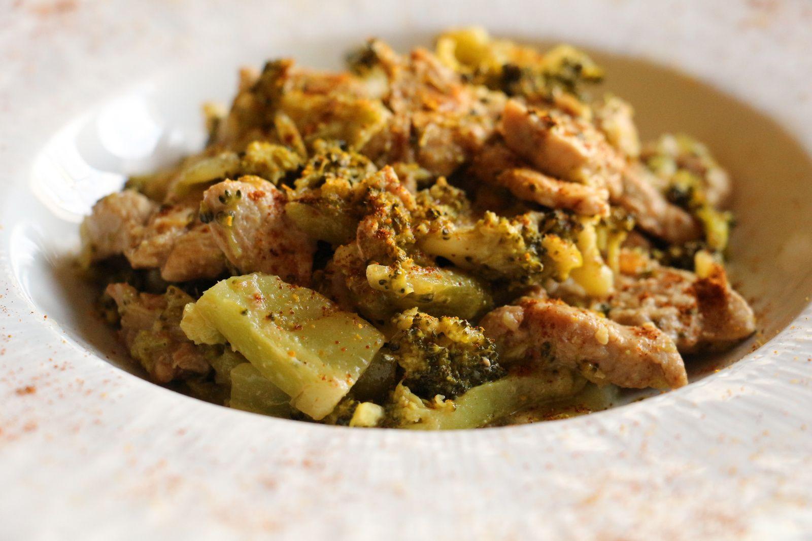 Mignon de porc au curry et brocolis