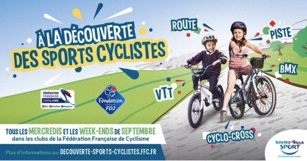 L'Avenir  Cycliste  Nieul les Saintes  participera  à  l'opération  les  Samedis  9, 16  et  23  Septembre, rendez-vous  à  9 H 45  au  local  du  club.Possibilité  d'essayer  sur  une  séance  gratuitement , prévoir  le  casque.Pour  tous  contacts  0546929049  ou  jacky.durand4@neuf.fr