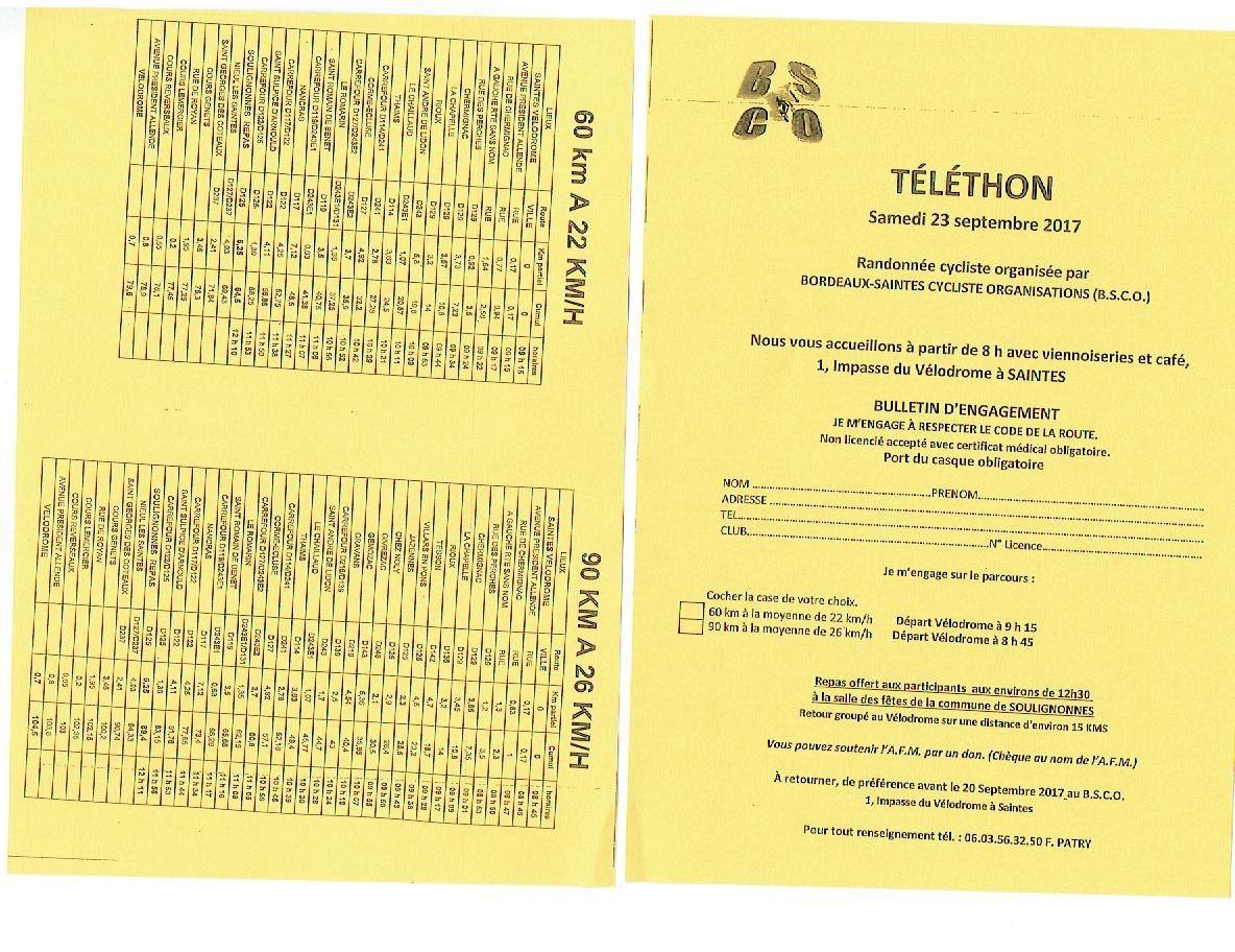 RANDONNEE  TELETHON  LE  23  SEPTEMBRE
