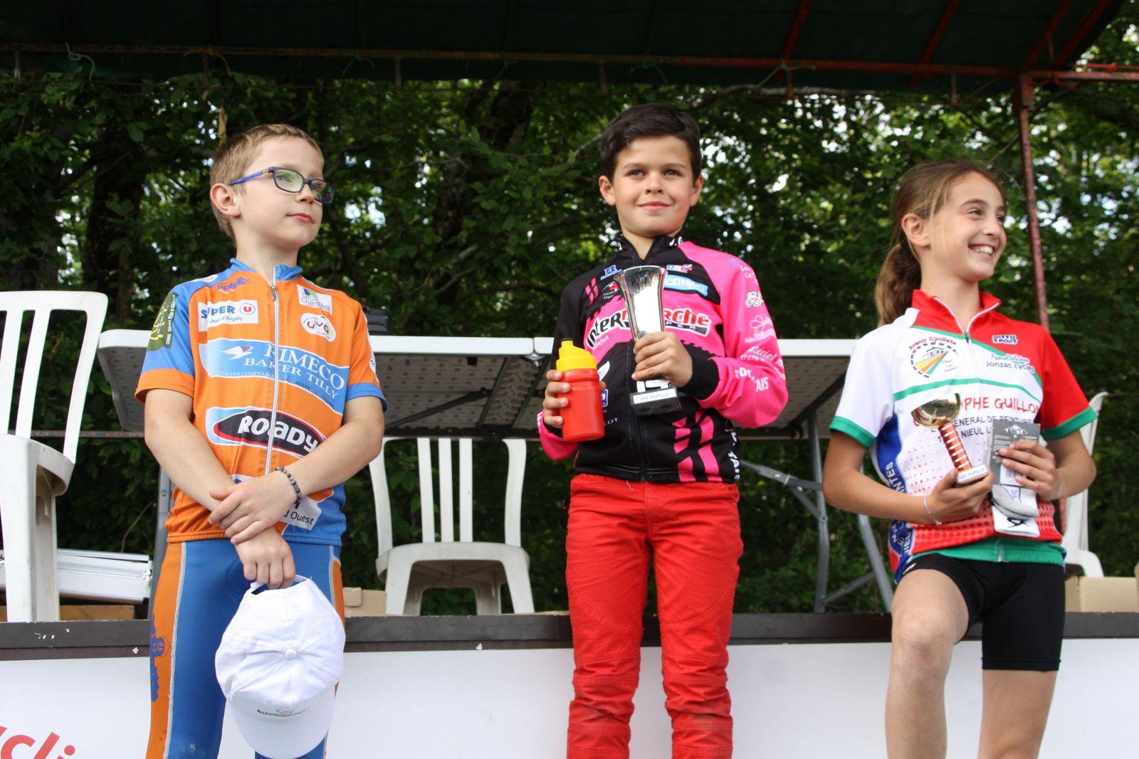 Podium  Pupilles avec  la  victoire  du  fils  de  Laurent  PINEAU  et  la  3e  place  de  Noémie