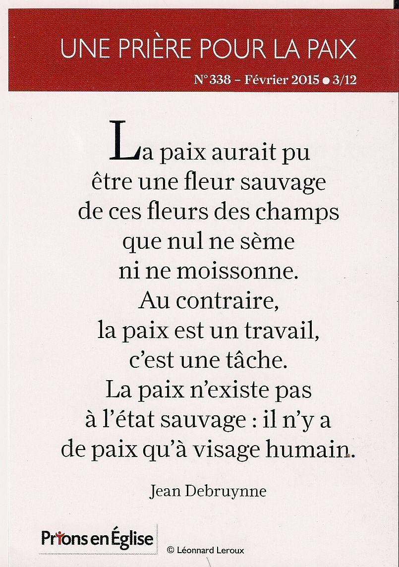 Des paroles de Jean Debruynne qui raisonnent tout particulièrement au lendemain du 11 janvier.