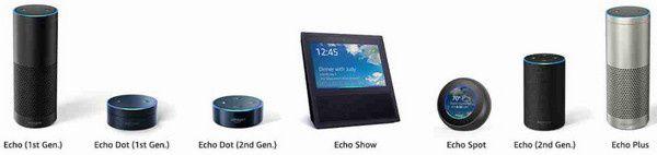 gamme amazon echo dot show spot