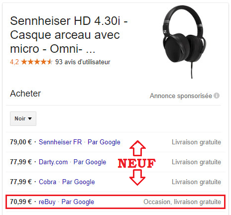 exemple prix neuf / occasion