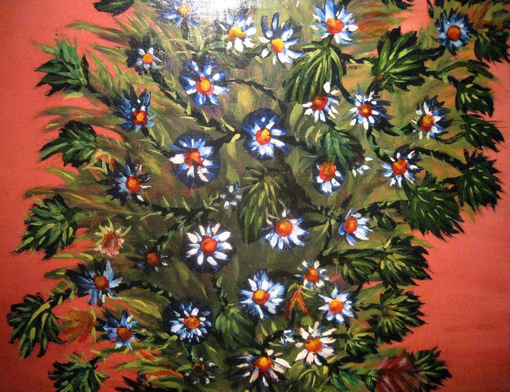 Séraphine de Senlis, bouquet de fleurs sur fond rouge
