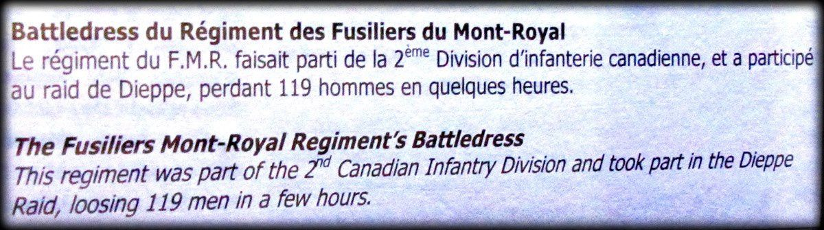 Battledress du Régiment des Fusiliers Mont-Royal, centre Juno Beach