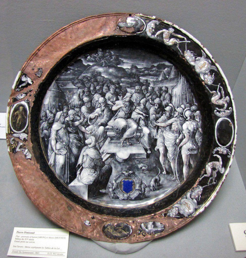 Pierre Pénicaud, plat émail (Aaron et Moïse)