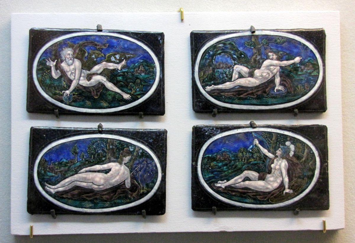 Jupiter, Junon, Minerve et Mercure (émail peint polychrome)