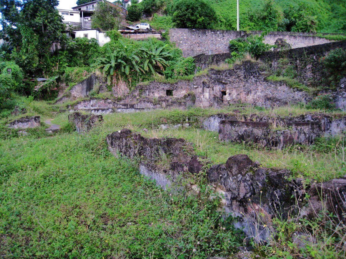 Vestiges de la prison, éruption de 1902 de la Montagne Pelée