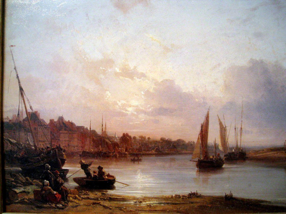 Le port de Trouville au petit matin, tableau de Charles Mozin