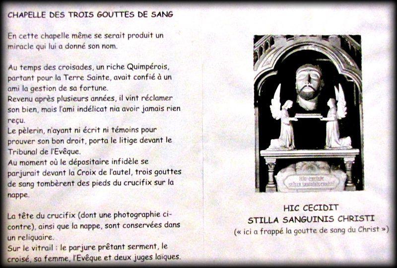 Chapelle des trois gouttes de sang, cathédrale de Quimper