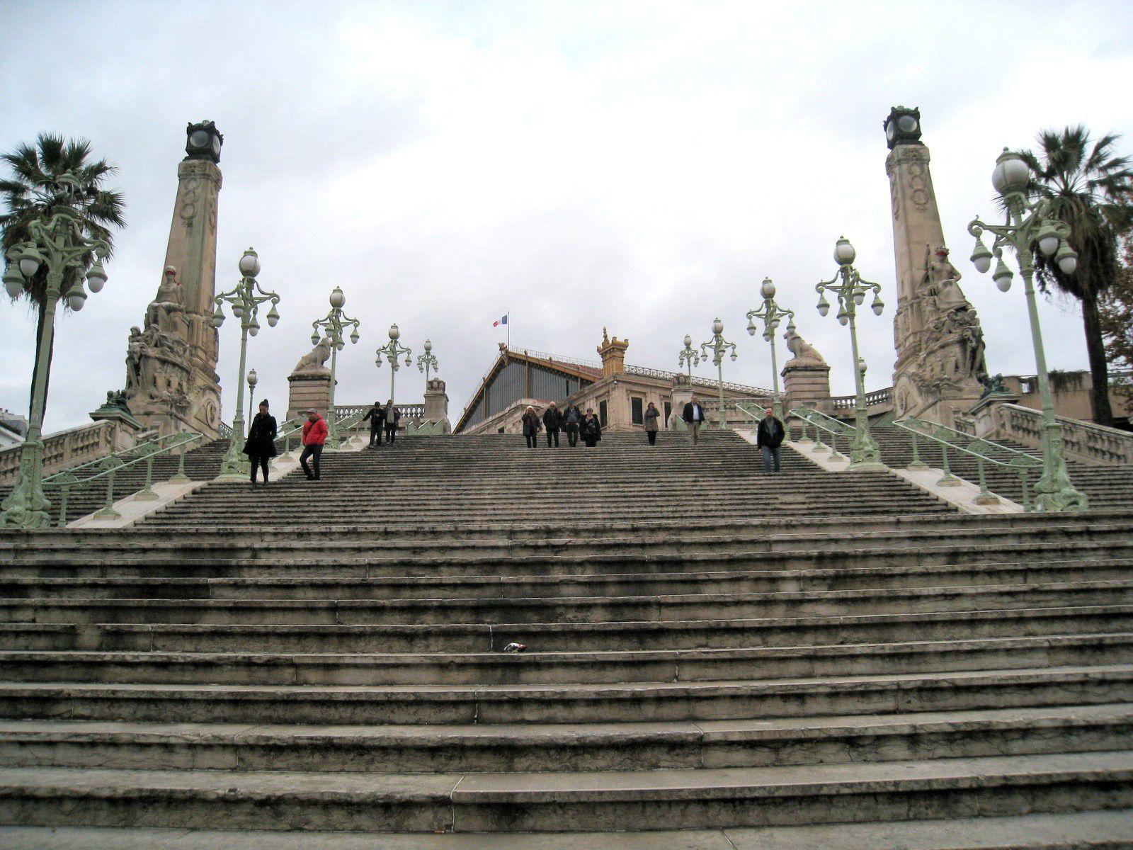 L'escalier monumental de la gare St Charles, Marseille