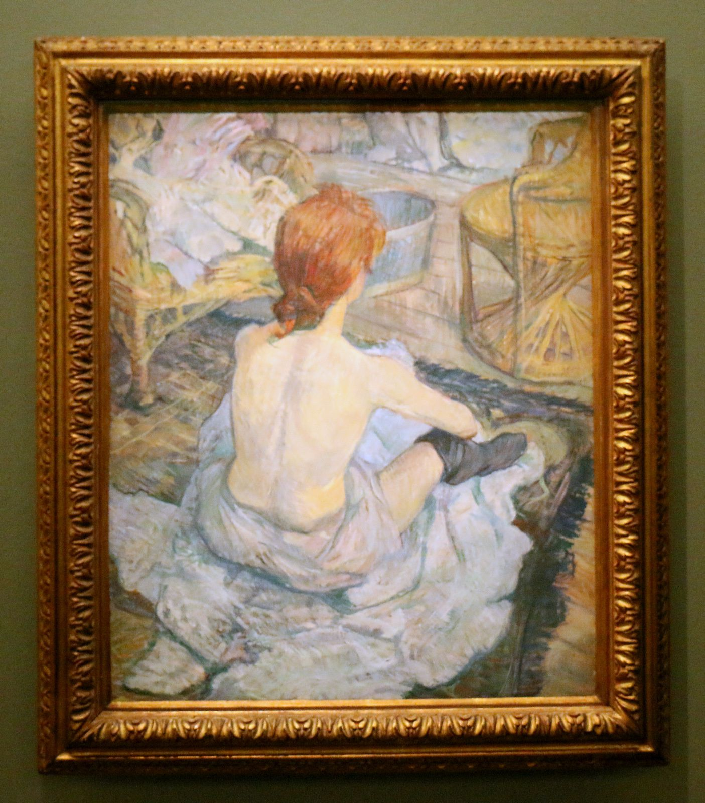 Rousse (La Toilette), huile sur carton de Henri de Toulouse-Lautrec