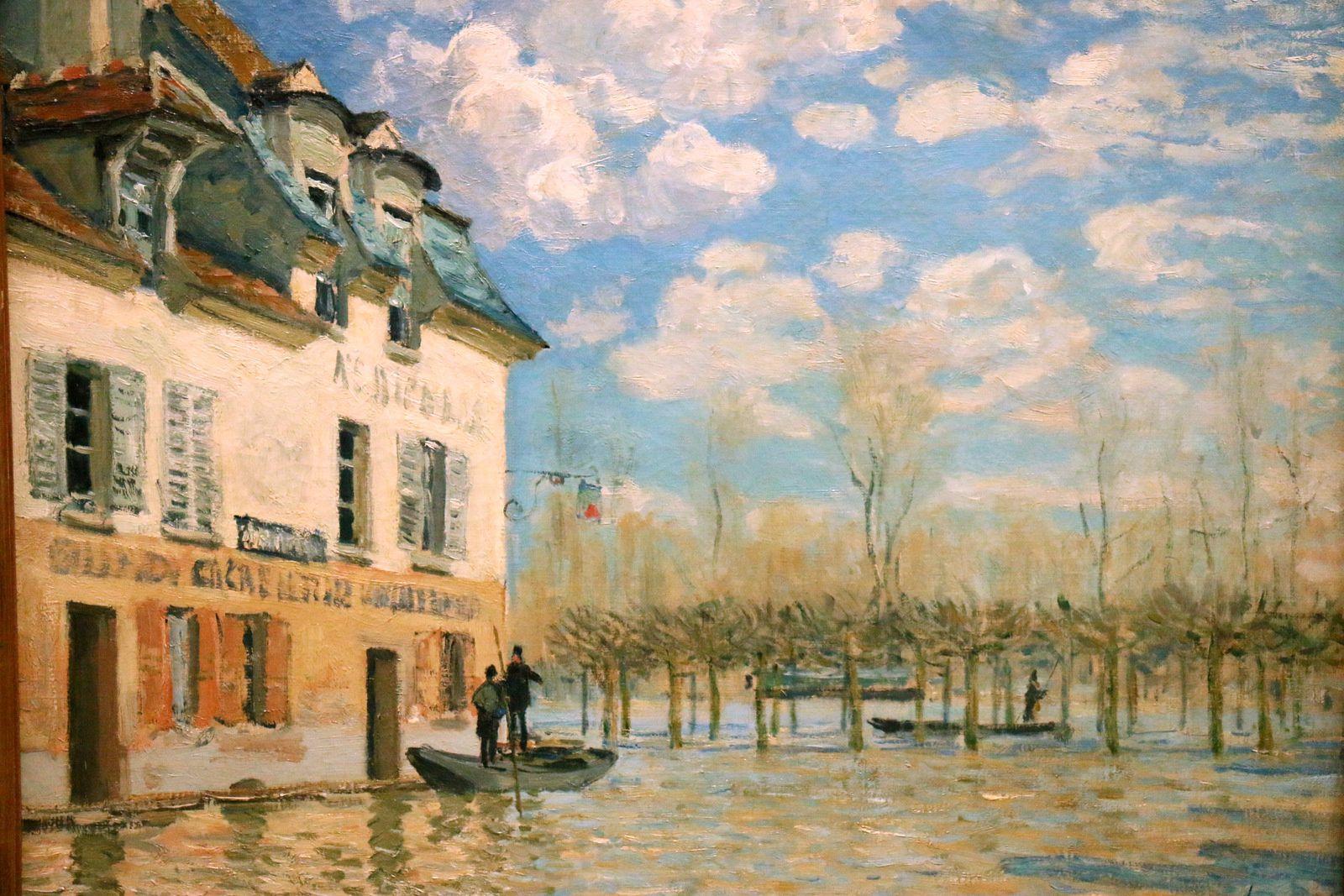 La barque pendant l'inondation, Port-Marly, huile sur toile d'Alfred Sisley