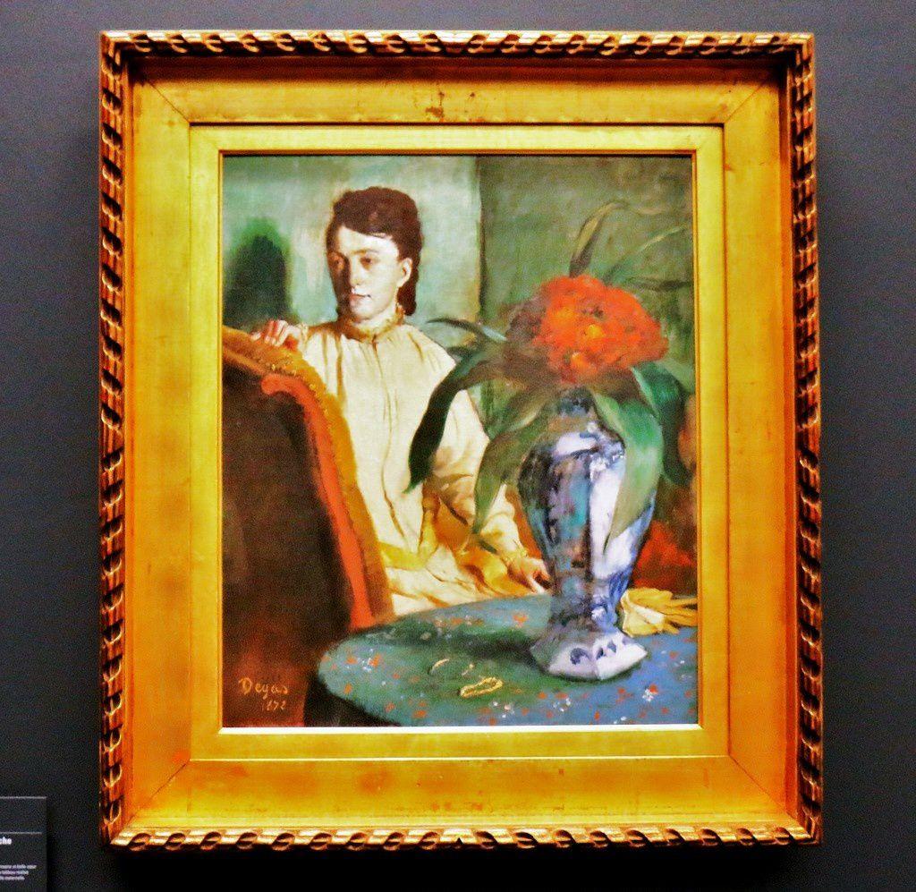 La femme à la potiche, huile sur toile d'Edgar Degas