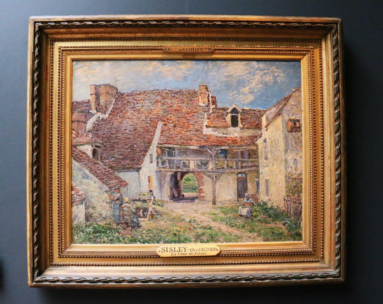 Cour de ferme à Saint-Mammès, huile sur toile d'Alfred Sisley