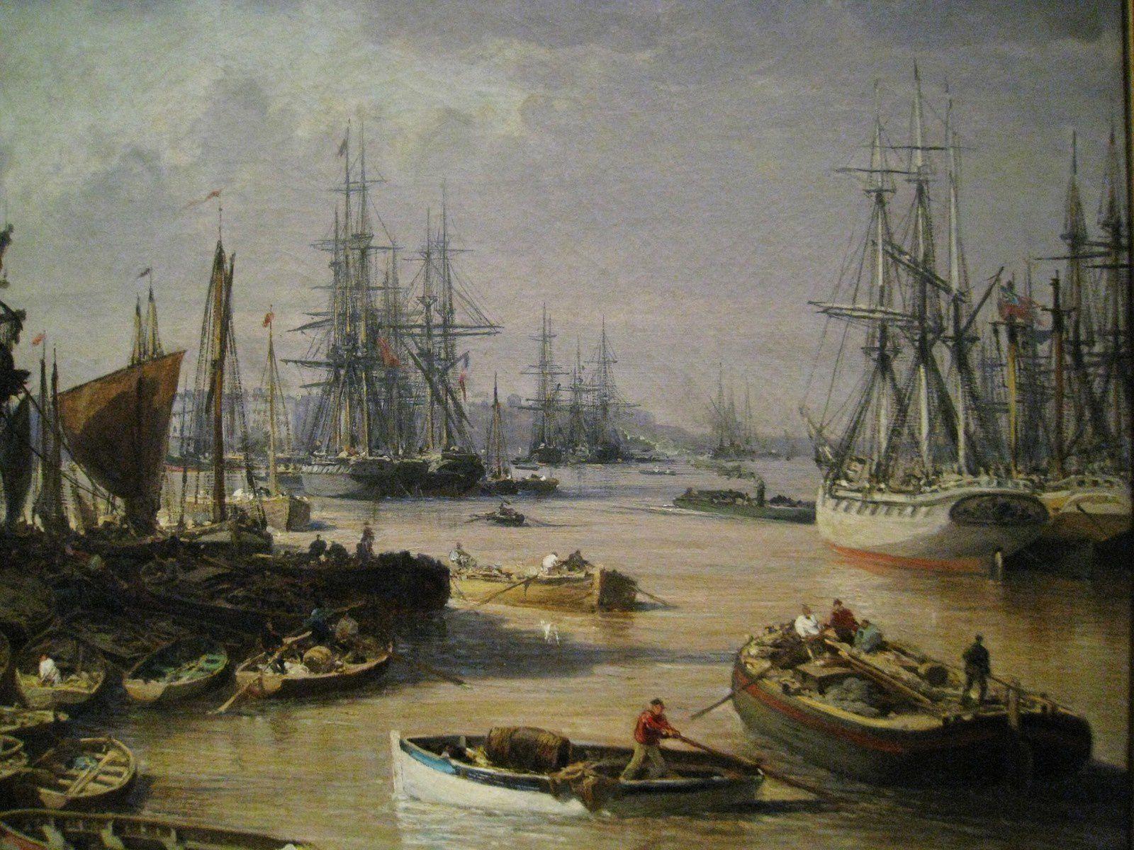 Edme-Emile Laborne, Bordeaux, le port, à gauche la place des Quinconces 1871