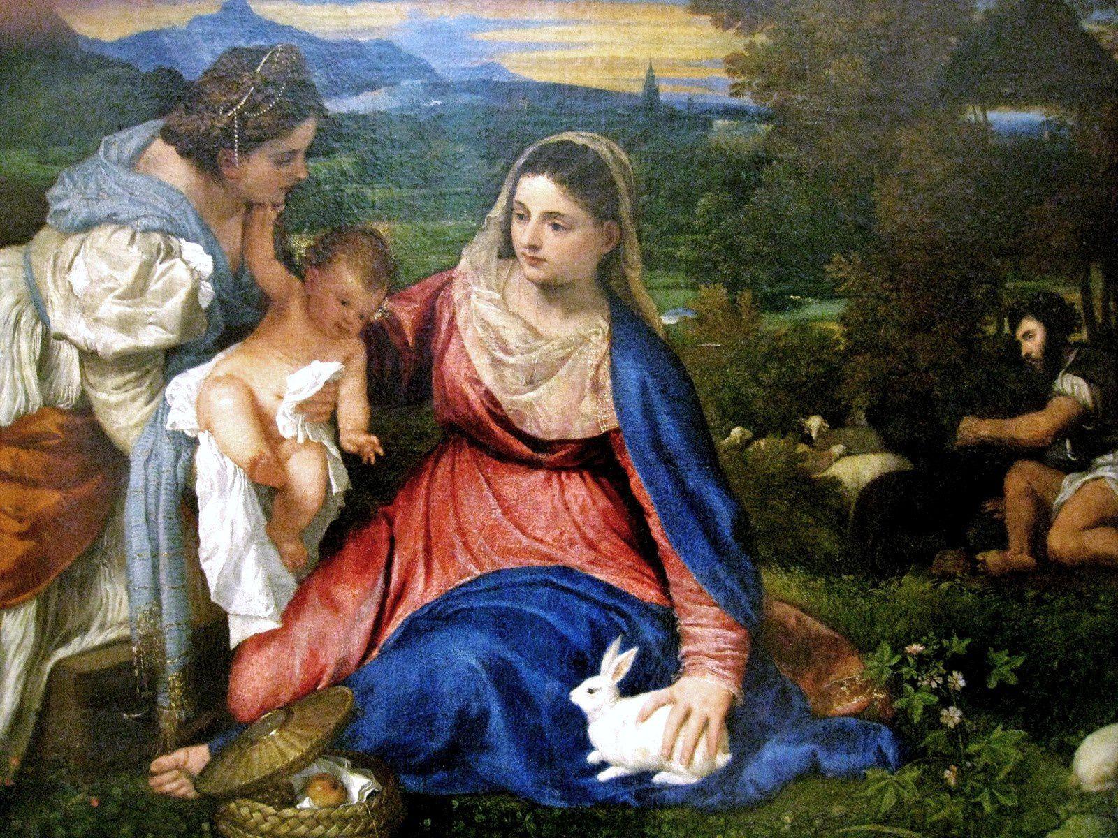 Tiziano Vecellio dit Titien, la Vierge à l'Enfant dite la Vierge au lapin