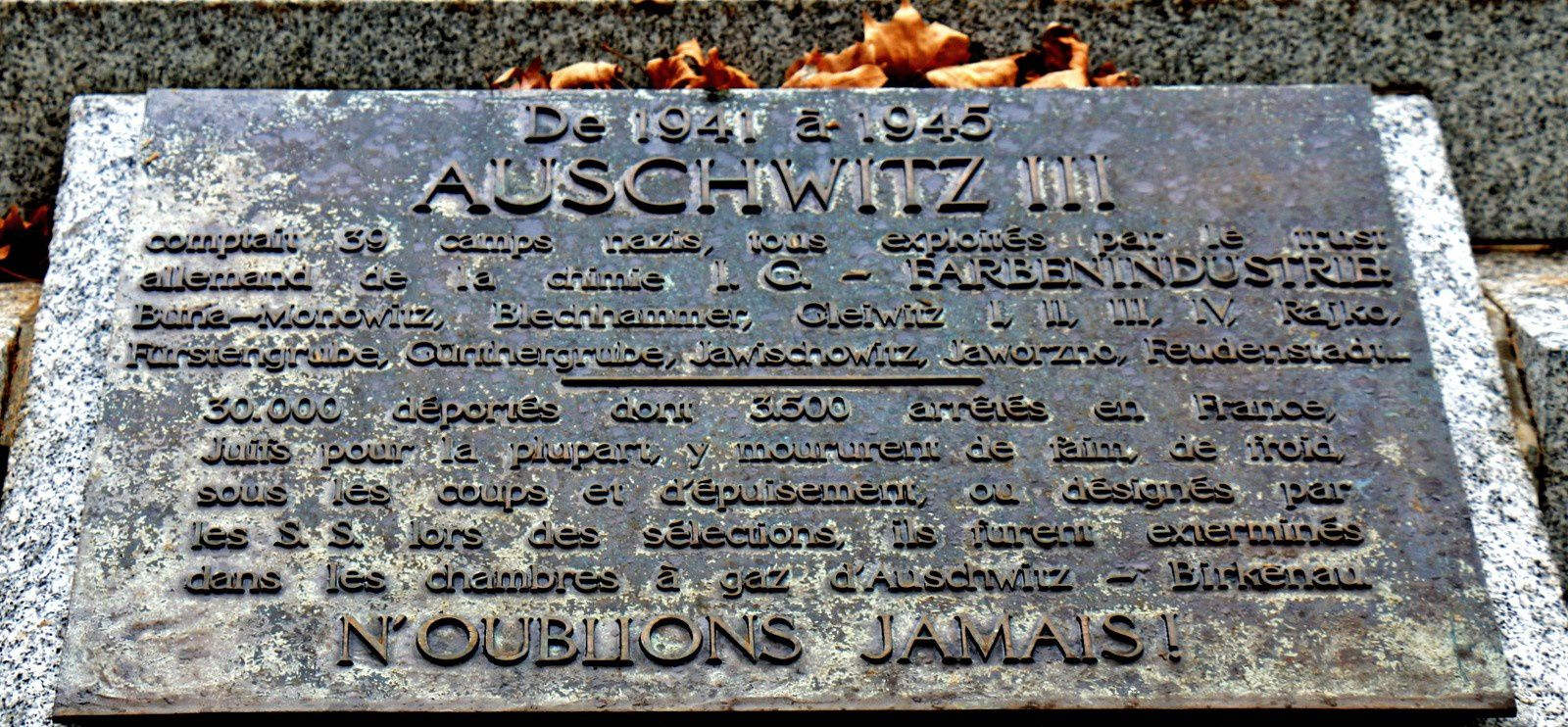 Monument de Buna-Monowitz-Auschwitz III et ses Kommandos