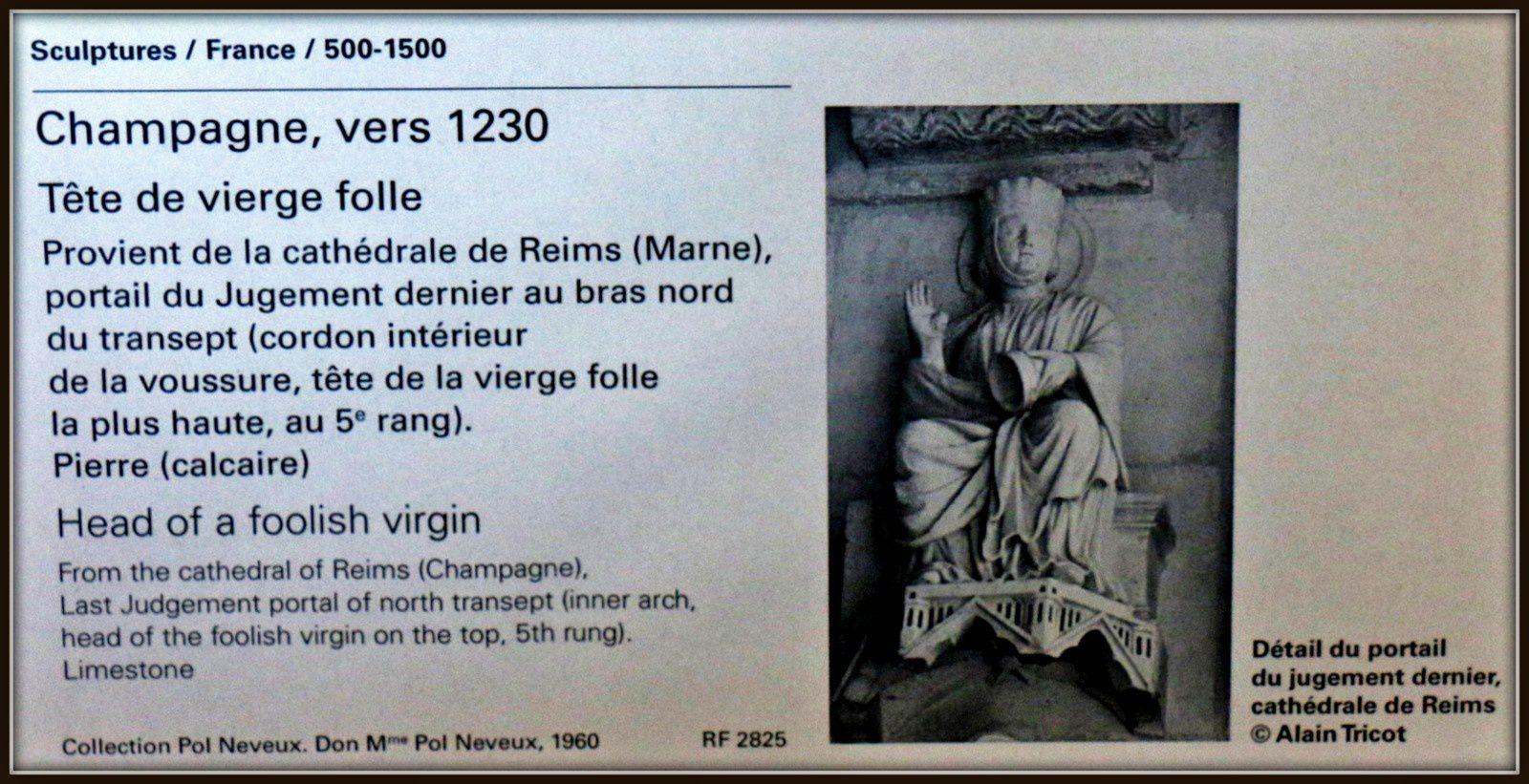Tête de vierge folle, Champagne vers 1230