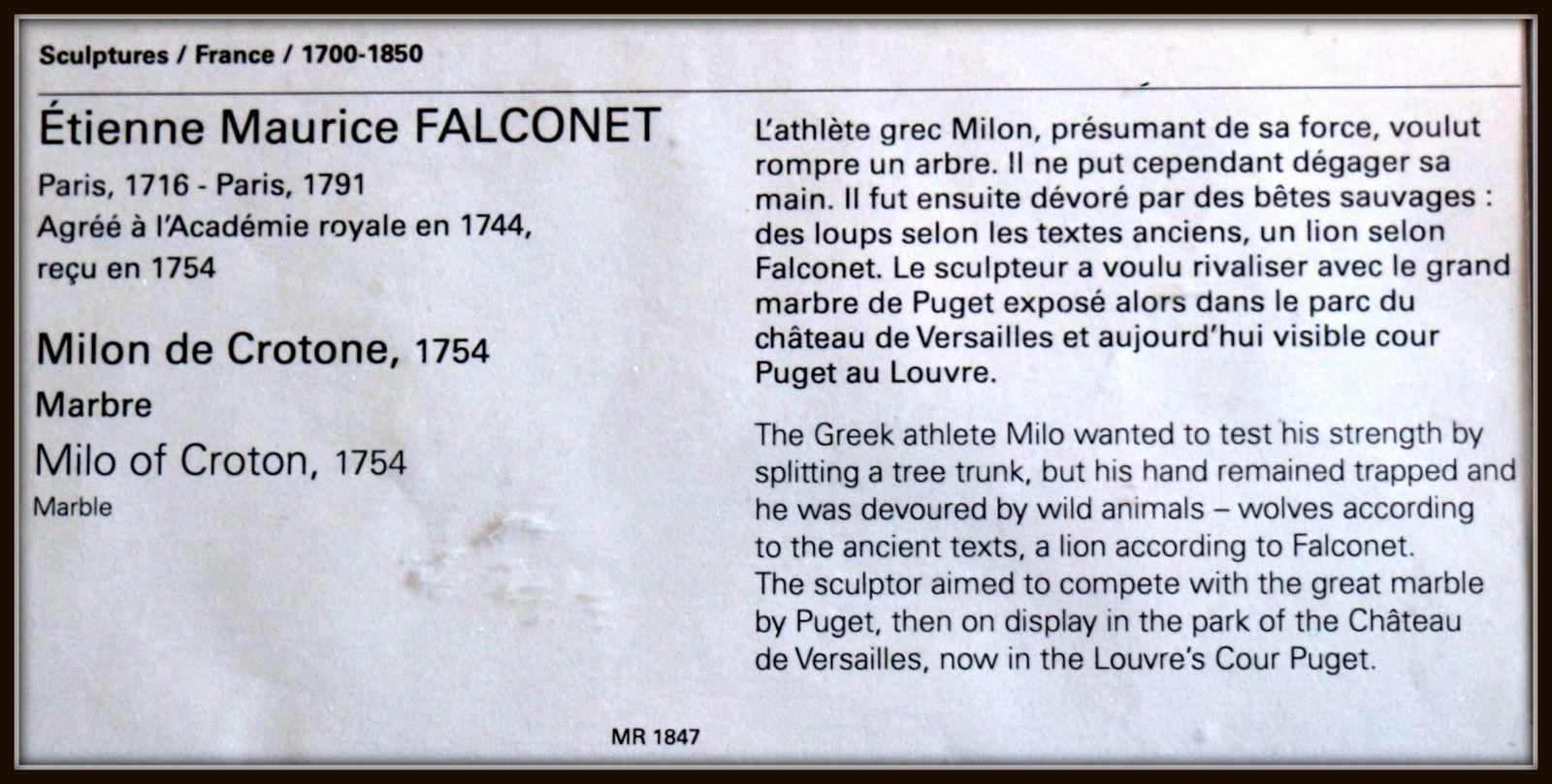 Etienne Maurice Falconet, Milon de Crotone