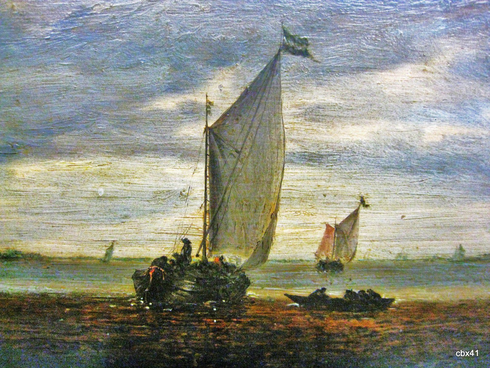 Salomon Van Ruysdael, La Marine d'or ; soleil couchant