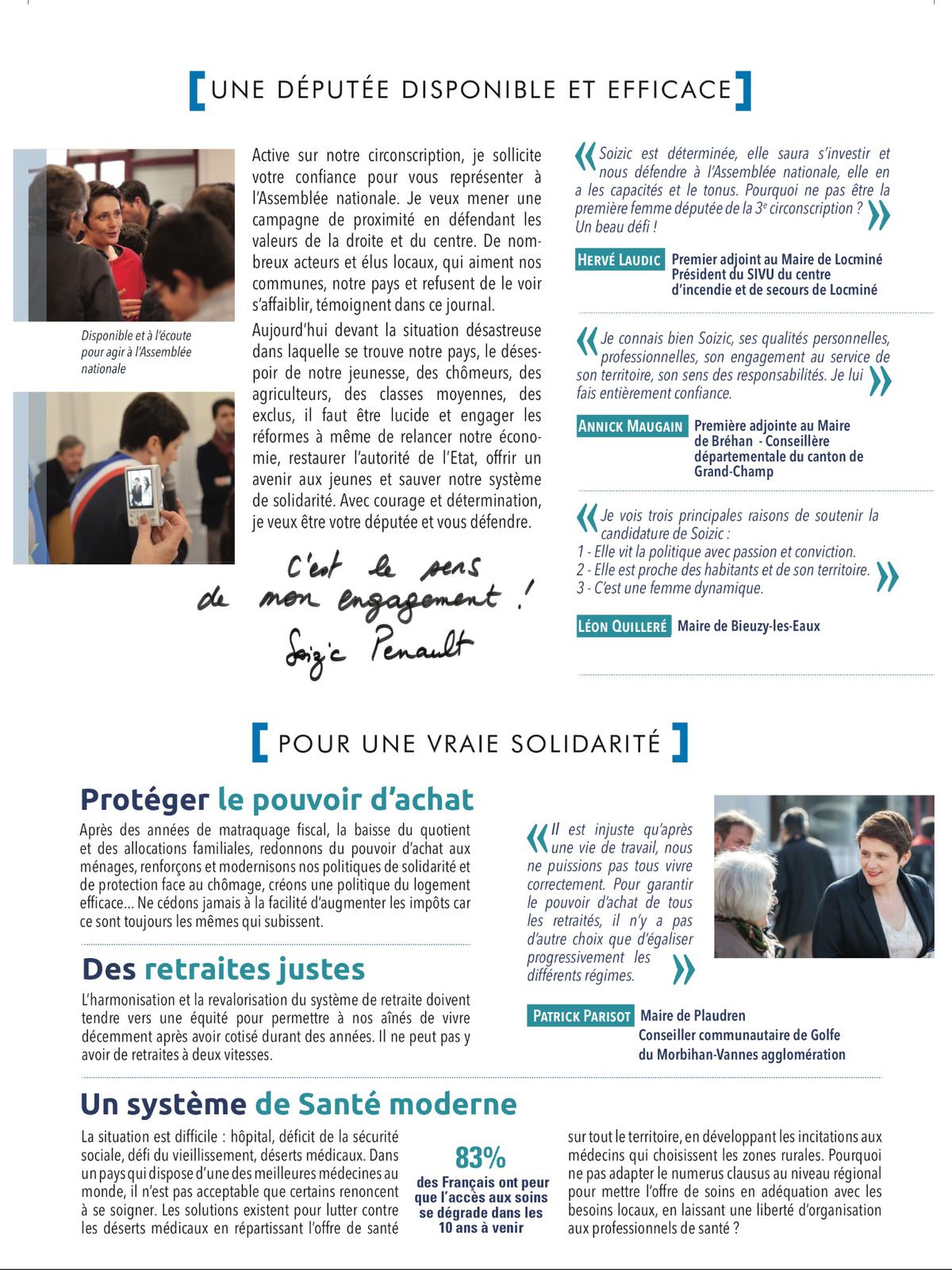 Elections législatives des 11 et 18 Juin 2017 - Soizic Perrault Pour vous Pour le Morbihan