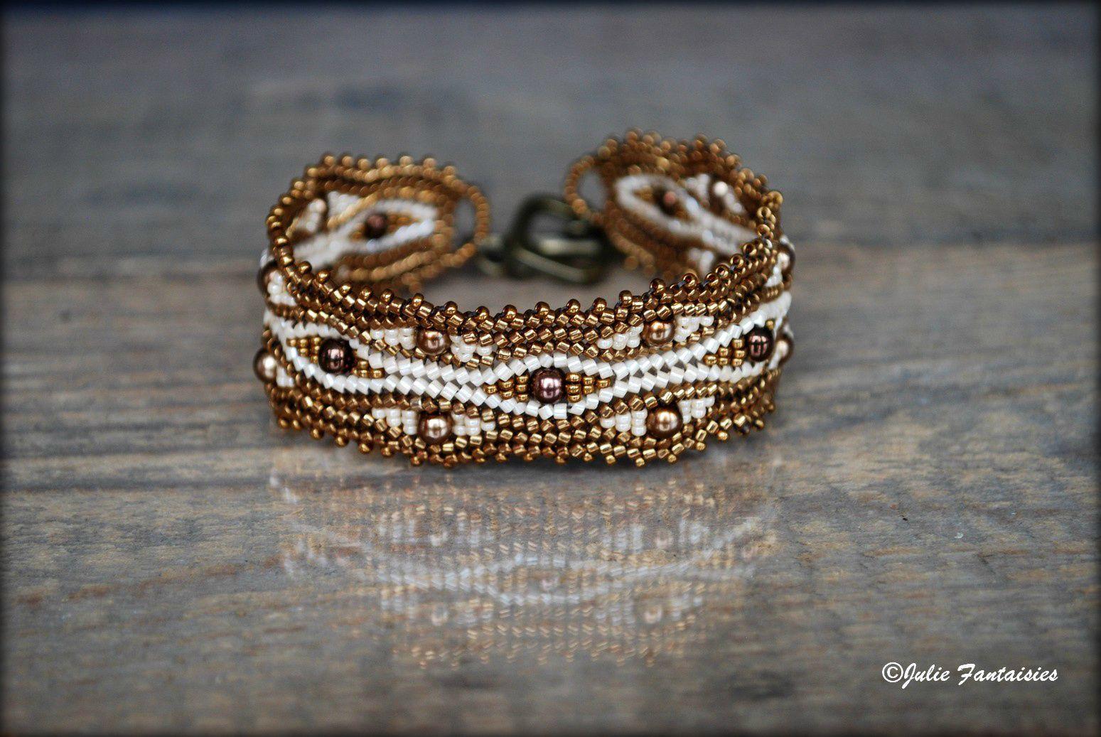 """Bracelet """" Serpentine """" ( Bracelet tissé en perles de rocailles )"""
