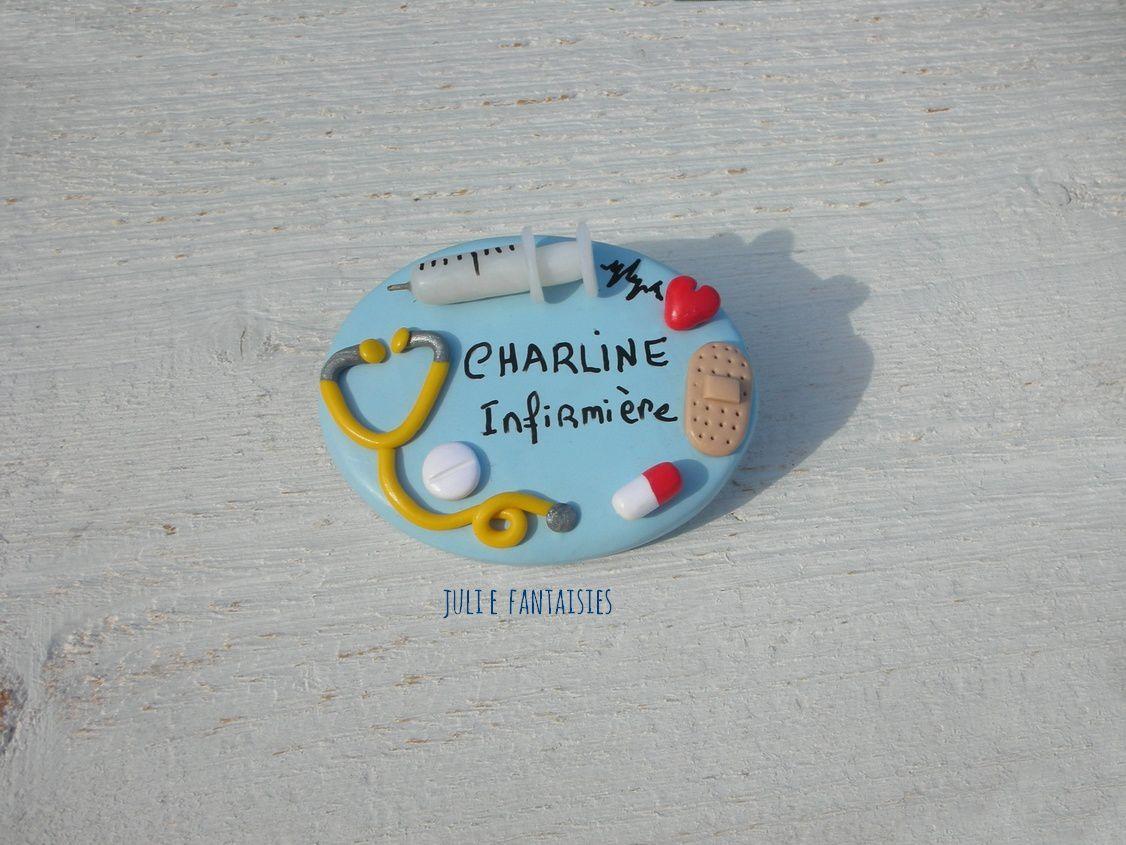 Badge pour Charline, infirmière