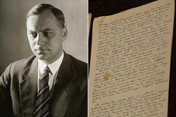 Left: Alfred Rosenberg, the Chief Nazi Party Ideologist Right: A page dated February 2, 1941 from Rosenberg's diary