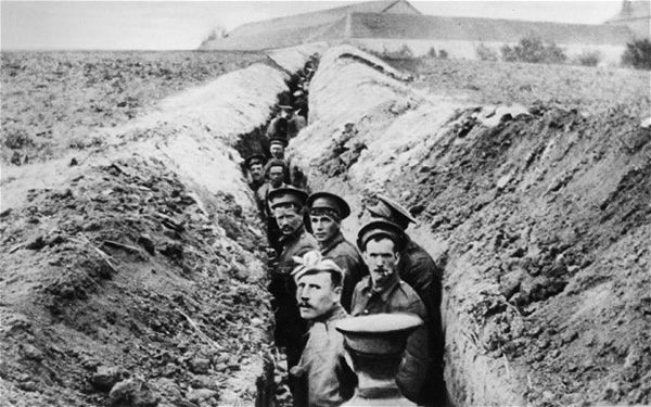 British soldiers line up in a trench during World War One