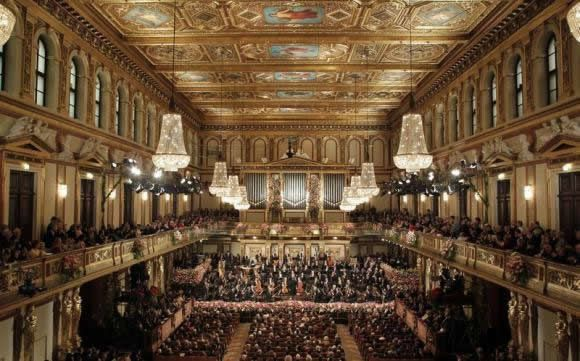 The Vienna Philharmonic Orchestra during the traditional New Year's Concert in the Golden Hall of the Vienna Musikverein in Vienna January 1, 2013.