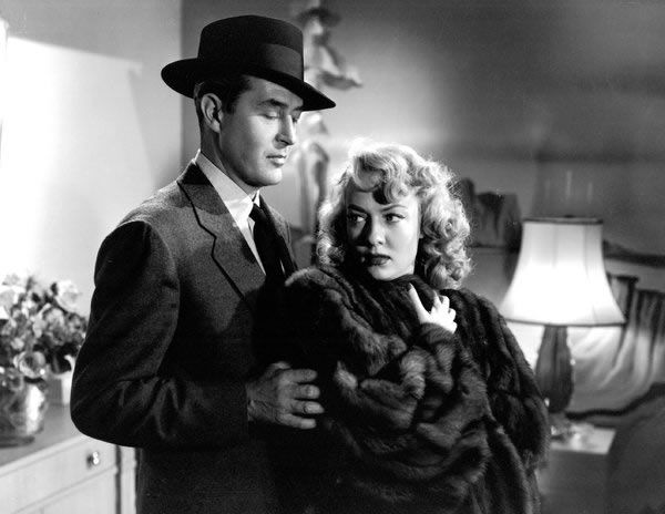"""Audrey Totter with Ray Milland in """"Alias Nick Bea"""" (1949)."""