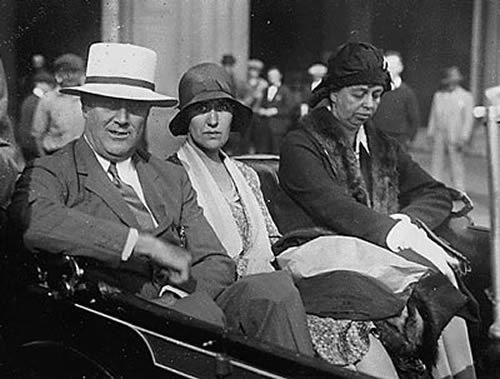 FDR with girlfriend Lucy Mercer and cousin-wife Eleanor in 1929