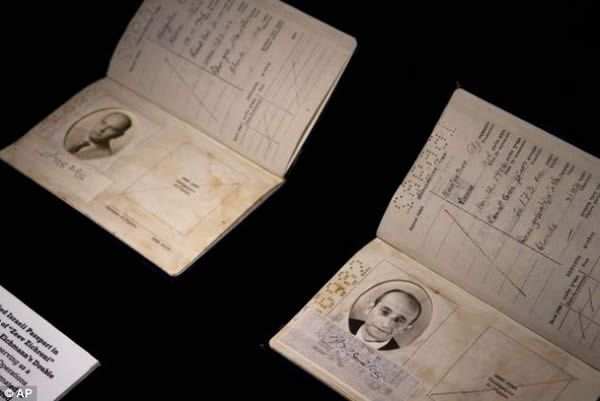 A forged Israeli passport used to smuggle Adolf Eichmann out of Argentina, is on show