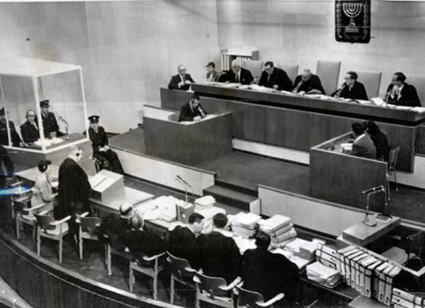 Adolf Eichmann, who died June 1962, is pictured in the box during his trial at the Jerusalem Supreme Court in Tel Aviv