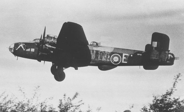 A Halifax bomber, similar to the one Flight sergeant Jay Carey was shot down in
