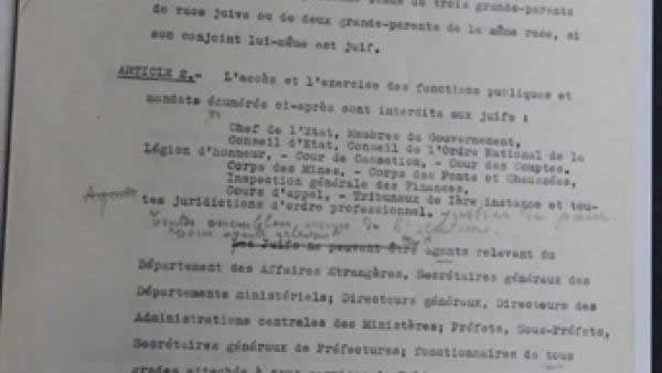 Un original du projet de statut des Juifs découvert