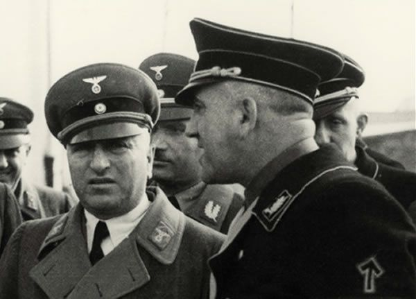 Robert Ley and Theodore Eicke inspecting Dachau in 1936