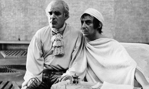 Ian Richardson (right) as the French revolutionary Marat and Patrick Magee as the Marquis de Sade in the film of the RSC's Marat/Sade, produced by Michael Birkett