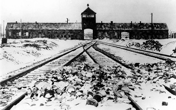 The entrance to Auschwitz Birkenau concentration camp