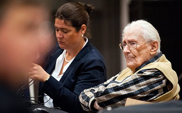 Defendant Oskar Groening sits in the dock of the court in Lueneburg, northern Germany