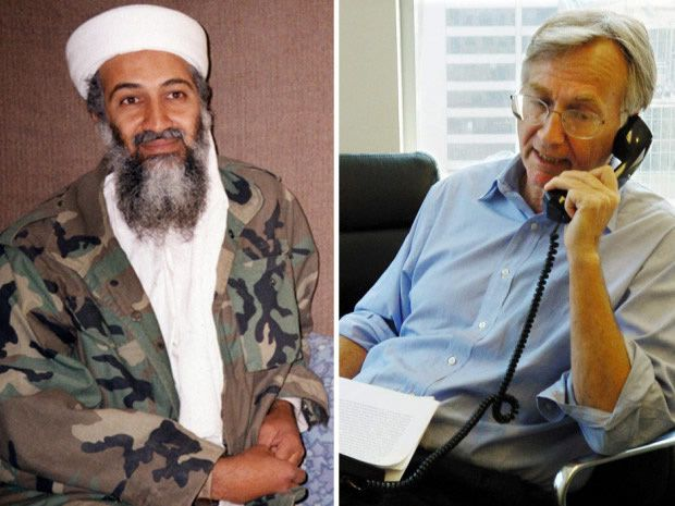 Osama bin Laden in Afghanistan in 2001, left, and Seymour Hersh in 2004, right. Hersh has called into question the official account of the American raid that killed bin Laden