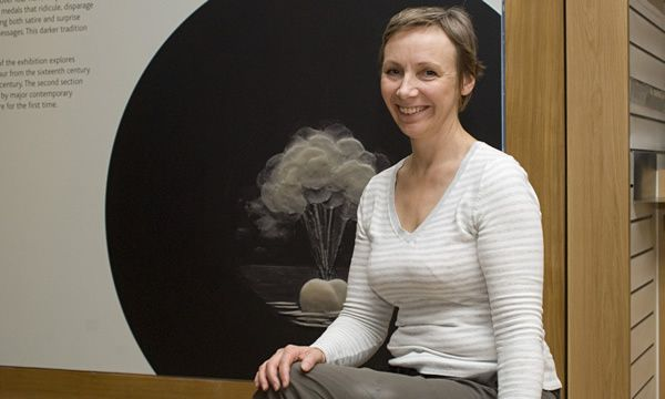 Felicity Powell in front of one of her pieces, Hot Air, at the Medals of Dishonour exhibition at the British Museum in 2009