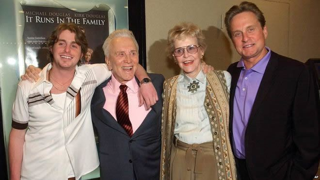 Diana Douglas appeared in It Runs in the Family with Cameron, Kirk and Michael Douglas (L to R) in 2003